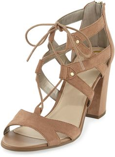 07726a18d CIRCUS BY SAM EDELMAN Emilia Micro-Suede Lace-Up Sandal strappy heel chunky  heels neutrals fun casual date night comfy designer affiliate