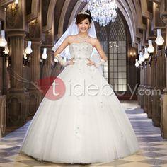 プリンセスライン ボールガウン ストラップレス ロング丈 ウェディングドレス