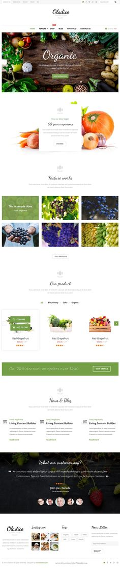Oladice is clean and elegant design #PSD Template for #Organic Farms #website. Download Now!
