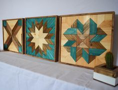 Wood Wall Art Turquoise Bundle - Tryptic Set of Three Star Quilt Patterns - Modern Wooden Wall Hangings - Set of 3