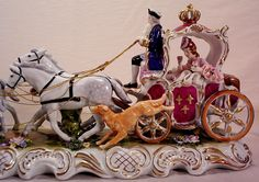 Vintage Dresden Porcelain Coach with 4 Horses, 2 Dogs, Lady and Driver from yas1 on Ruby Lane