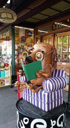 "Copperfields ""Book Dog"" Patrick Amiot Urban Folk Junk Art, Sebastopol, CA Metal Yard Art, Metal Art, Sculpture Art, Sculptures, Found Art, Sonoma County, Garden Ornaments, Baby Strollers, Folk"