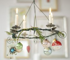 tiny chandelier. Could be made for any season, just find clip on candle holders easier during Christmas.
