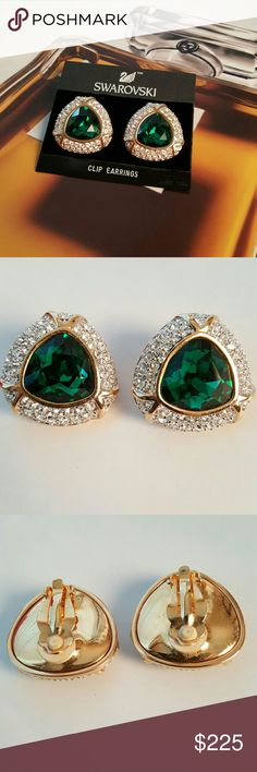 "Vintage Swarovski Emerald Green Earrings Vintage. Sold in Bullocks Department Store over 25 years ago. Excellant vintage condition (superficial scratch on one earring). New on the original card. Highly collectible. Austrian crystals are bright and clear and the classic hinge-clips are structurally sound. 1.2"" x 1.2""  Signed SAL:  Short for Swarovski America, Ltd. The first name under which the famed  Austrian Crystal began manufacturing thier own jewelry. Hallmark was used from 1977 to 1988…"