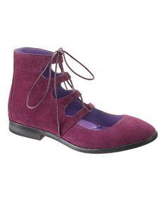 Prune Suede Anna Sui Ghillie Shoe - Women