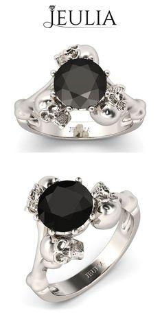 Sterling Silver Three-skull Design Skull Ring