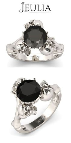 awesome Nice Brilliant Cut Black Diamond Rhodium Plated Sterling Silver Three-skull Design Skull Ring