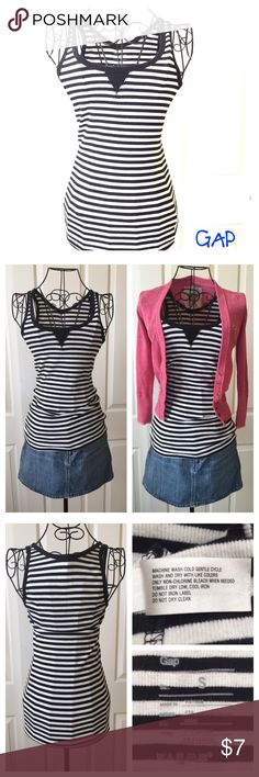 Cozy GAP Black/White Striped Tank Very soft black/white striped tank in great condition. Comfortable and long, great for breezy summer days. GAP Tops Tank Tops