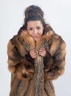 Natural Cross Fox Fur Coat | eBay