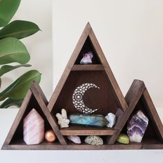 Mandala Moon Crystal Shelf,This mountain mandala moon shelf has been made to display and store your favourite crystals and keepsakes. Comes complete with a cut out mandala desig.