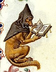 A studious fox in a monk's cowl, in the margins of a Book of Hours, Utrecht, c 1460 - Reynard the Fox