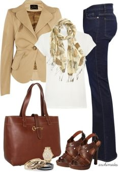 Work & Weekend: White Tee, Tan Floral Scarf, Khaki Blazer, Leather Sandals, Matching Bag #spring