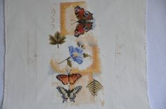 Finished completed Cross stitch - Lanarte Butterfly Collage crossstitch counted cross stitch