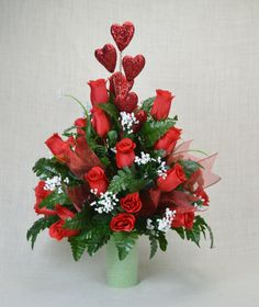 No. S1604 Valentine Red Roses Cemetery Flower Arrangement by AFlowerAndMore on Etsy