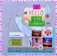 Hello Palm Desert - Two Peas in a Bucket LOVE the use of the tag on the layout, so creative Travel Scrapbook, Scrapbook Pages, Scrapbooking, Scrapbook Layouts, Card Making Inspiration, Layout Inspiration, Palm Desert California, Amy Tan, Paper Crafts
