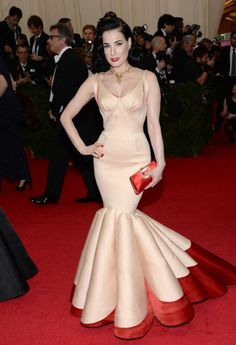 """Dita Von Teese in Zac Posen at the 2014 Met ball. Vogue Magazine named it one of """"The Best Met Gala Gowns of All Time"""". Fashion Casual, Fashion Show, Fashion 2014, Daily Fashion, Zac Posen, Dita Von Teese Style, Gala Gowns, Evening Dresses, Prom Dresses"""