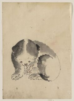 A cat cleaning its claws, from the Hokusai School sketchbook | ink and color drawing, 1830-1850 | Hokusai  [Library of Congress, Washington DC]