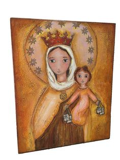 Our Lady of Mount Carmel Original Mixed Media by FlorLarios