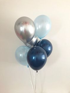 Navy Light Blue Chrome Silver Latex Balloons Navy Balloons Silver Balloons Navy and Silver First Birthday Boy Baby Shower Balloons Boy Party