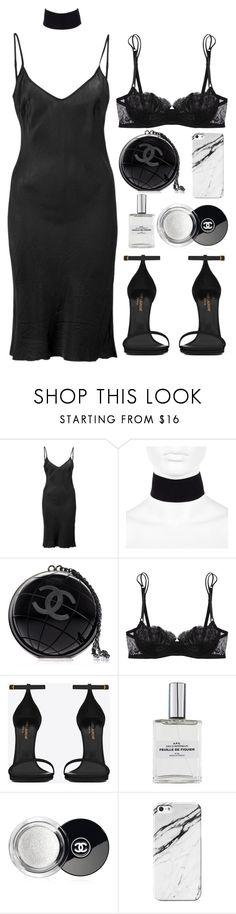 """""""STAY SIMPLE"""" by mimiih ❤ liked on Polyvore featuring Organic by John Patrick, River Island, Chanel, La Perla, Yves Saint Laurent, simple, black and saintlaurent"""
