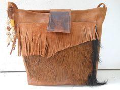Leren tas met geithuid. Op de sluiting een hertje. JANET Handgemaakte tassen op FB.