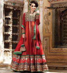 Z Fashion Trend: ORANGE RED AND GREEN DESIGNER PARTY WEAR ANARKALI
