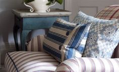 Exmere & Manton fabric collection by William Yeoward injects an autumnal feel into your home, which has warm stripes, elegant checks and country prints Roman Blinds, Designers Guild, Fabric Paper, Living Spaces, Colours, Curtains, Throw Pillows, Pillow Ideas, Room