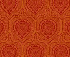 Afro Heart Damask </br> Bright Magenta on Orange Orange Fabric, Damask, Magenta, Afro, Bright, Rugs, Heart, Prints, Lime