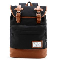 HotStyle 924s Classic Canvas Retro Rucksack Backpack (19L) - With Padded Laptop Sleeve (Black)
