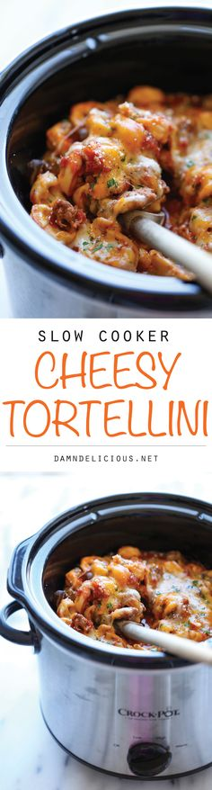 Slow Cooker Cheesy Tortellini - There's nothing better than coming home to the cheesiest tortellini ever, and yes, it's easily made right in the crockpot! http://damndelicious.net/2014/12/17/slow-cooker-cheesy-tortellini/