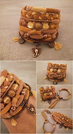 Bohemian bracelet hippie style boho jewelry in ginger color scheme. A set of crochet tube bangle made using natural linen yarn and color cotton threads with multiple jersey strands, gold aventurine bead, cat eye beads, seed beads, copper tone elements, ends, chain and clasp. Elephant