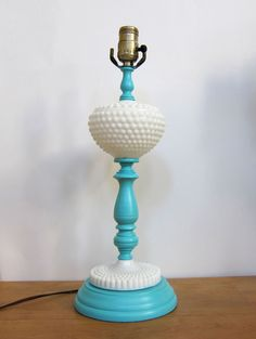 Vintage Milk Glass and Turquoise paint lamp