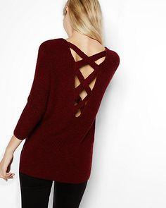 marled crossback v-neck shaker knit sweater