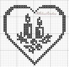 schemi vari - gratuti (free - Her Crochet Hand Embroidery Patterns, Cross Stitch Embroidery, Machine Embroidery Designs, Cross Stitch Patterns, Crochet Patterns, Cross Stitch Heart, Christmas Cross, Christmas Tree, Filet Crochet