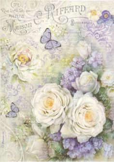 Rice Paper for Decoupage, Scrapbook Sheet, Craft Paper Roses and Butterfly