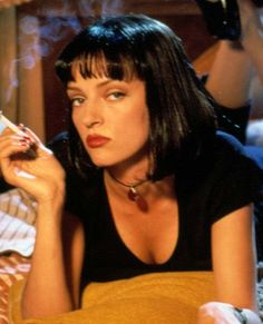 Uma Thurman in Pulp Fiction From the red lips to the major twist dance moves to the black, bang-ed bob, Mrs. Mia Wallace lives boldly.