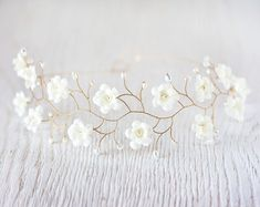 Ivory flower crown, Bridal tiara, wedding tiara, Gold tiara, Crystals headpiece, headband, bridal hair accessories, pearls, Gold headband