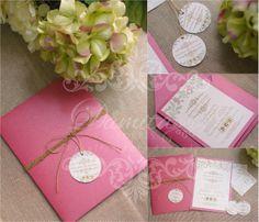 Invitaciones rosa con flores inspiración vintage