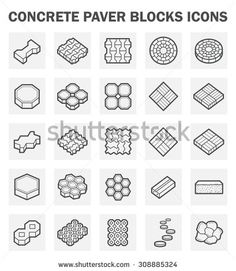 Concrete paver block vector icon sets.