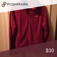 Ladies Columbia brand fleece jacket Dark red plush fleece front zip , with side pockets. Columbia Jackets & Coats