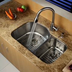 "Undermount Kitchen Sinks And Faucets 32"" x 20"" double bowl undermount kitchen sink with faucet and soap"