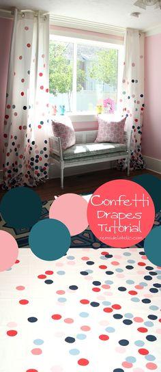 Polka Dot Confetti Drapes Tutorial, perfect for a girl's room | remodelaholic.com #diy #paint #curtains #girlsroom #pink #navy @Remodelaholic .com .com .com .com .com