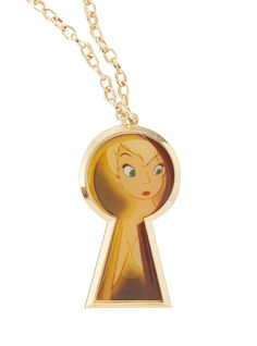 Gold tone chain necklace with Tinker Bell keyhole pendant.