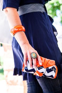 The Orange with Navy chevron