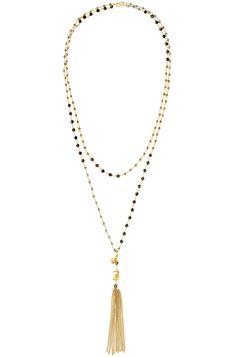 Metallic Beaded Tassel Rosary Necklace | Gold or Silver Gitane Tassel Necklace | Stella & Dot