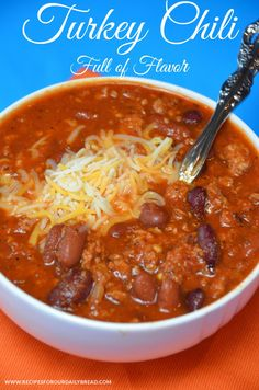 #Turkey #Chili - Full of Flavor! #soup  http://recipesforourdailybread.com/flavorful-turkey-chili/