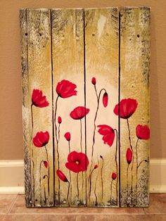 Red poppy flowers painting on pallet wood by Amy Parker Art. Www.AmyParkerArt.blogspot.com