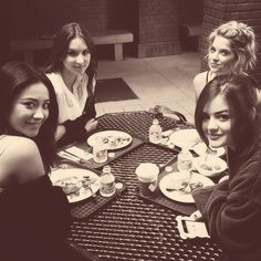 Shay Mitchell, Troian Bellisario, Ashley Benson and Lucy Hale on the set of Pretty Little Liars. #PLL