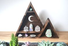 Crescent Moon  Triangle Mountain Shelf by CopperMoonBoutique