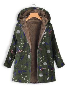 Floral Print Hooded Long Sleeve Pockets Vintage Jacket - Newchic Plus Size  Outerwear Mobile 95bf9b7005